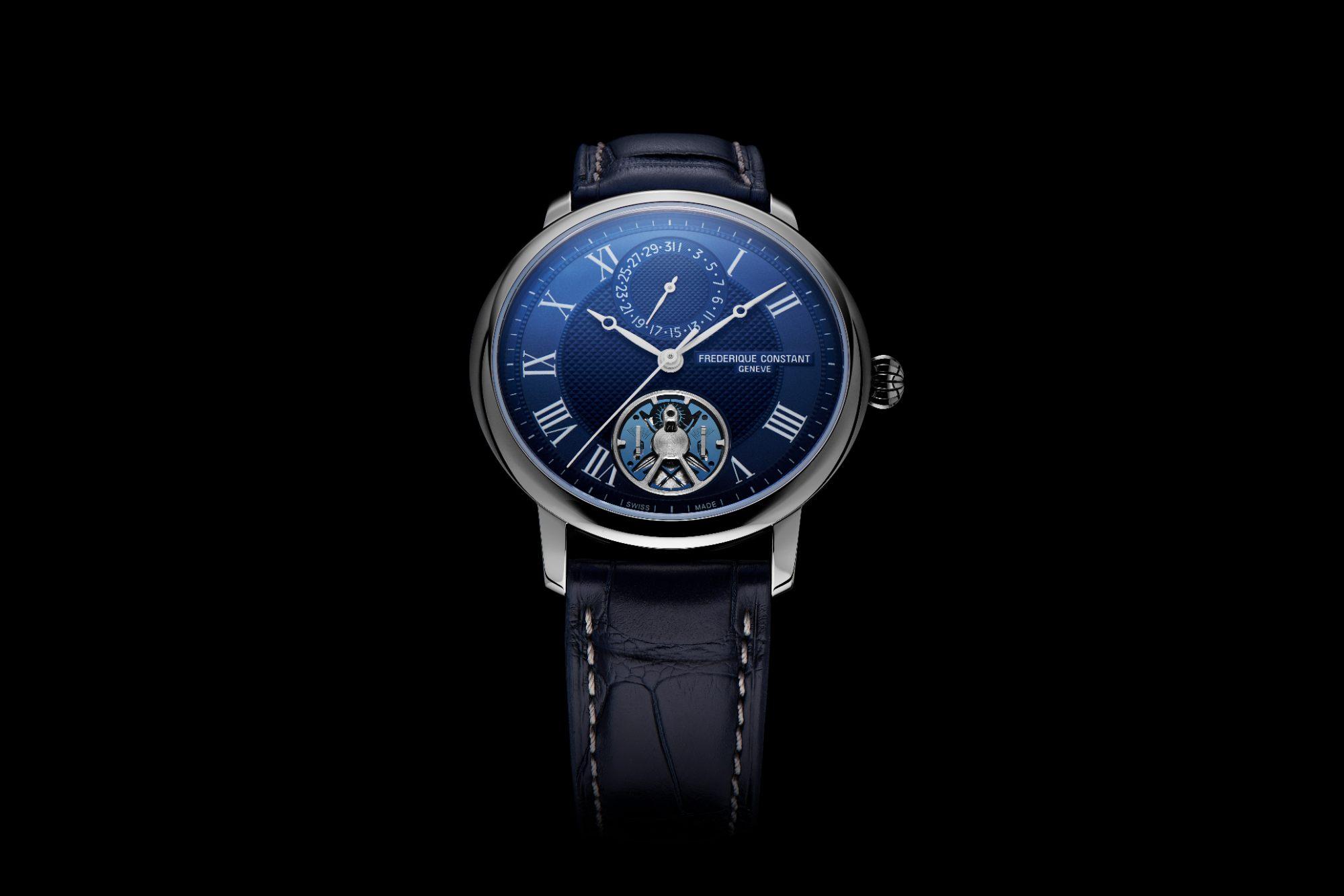 Frederique Constant Slimline Monolithic Manufacture acier cadran bleu